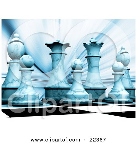 Clipart Illustration of a Lineup Of The White Chess King, Queen, Bishops And Pawns On A Chessboard, Cast In Blue Light by KJ Pargeter
