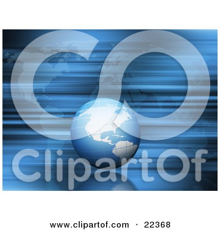 Clipart Illustration of a Blue Globe With The American Continents, Speeding Past In A Blur Over A Map by KJ Pargeter