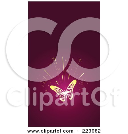 Royalty-Free (RF) Clipart Illustration of a Business Card Design Of A Gold Butterfly Burst On Pink by Eugene