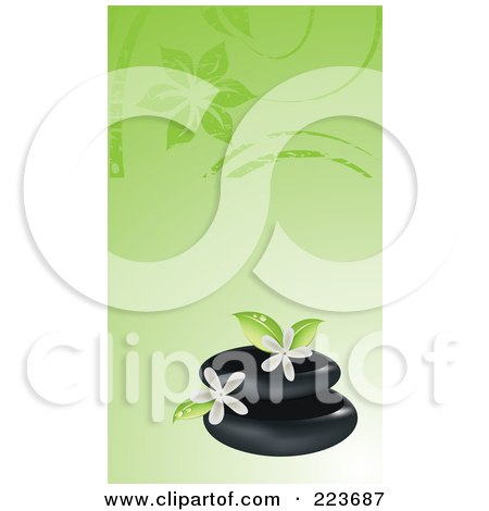 Royalty-Free (RF) Clipart Illustration of a Business Card Design Of Spa Stones And Frangipani Flowers On Green by Eugene