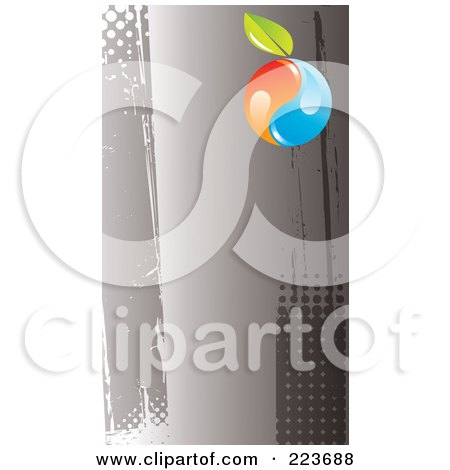 Royalty-Free (RF) Clipart Illustration of a Business Card Design Of An Orange And Blue Yin Yang With A Leaf On Grungy Gray Halftone by Eugene