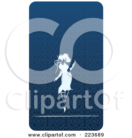 Royalty-Free (RF) Clipart Illustration of a Business Card Design Of A Sexy Woman Over A Blue Pattern by Eugene