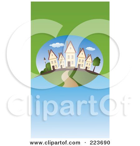 Royalty-Free (RF) Clipart Illustration of a Business Card Design Of Similar Houses In A Neighborhood On Green And Blue by Eugene