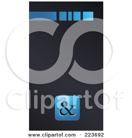 Royalty-Free (RF) Clipart Illustration of a Business Card Design Of A Blue Line And Blue Ampersand Symbol On Gray by Eugene