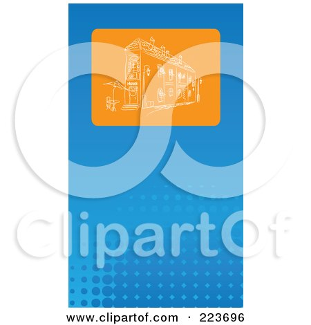 Royalty-Free (RF) Clipart Illustration of a Business Card Design Of An Orange Sketched Building On Blue Halftone by Eugene