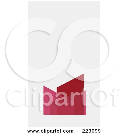 Royalty-Free (RF) Clipart Illustration of a Business Card Design Of An Abstract Red And Pink Bar Graph On Off White by Eugene