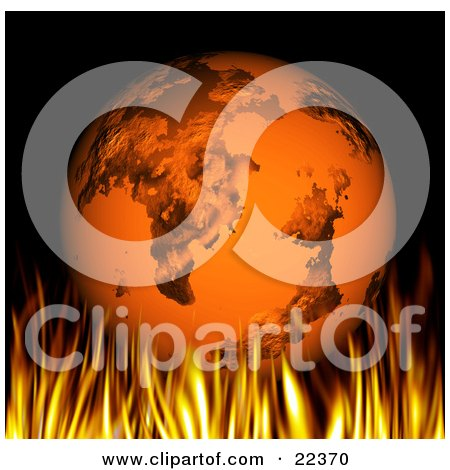Clipart Illustration of a Line Of Flames Burning Under Planet Earth by KJ Pargeter