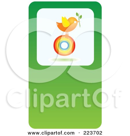 Royalty-Free (RF) Clipart Illustration of a Business Card Design Of A Chicken With A Plant On A Rainbow Circle On Green by Eugene