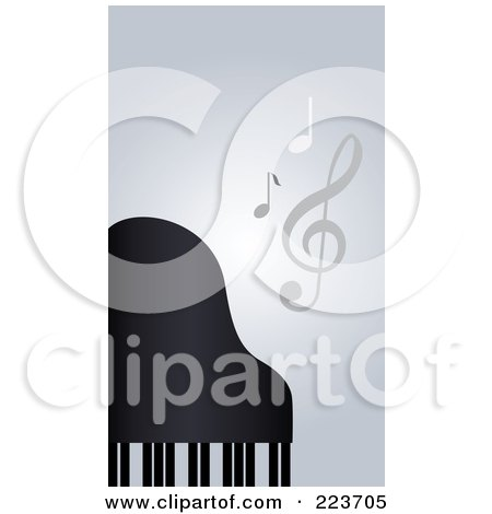Royalty-Free (RF) Clipart Illustration of a Business Card Design Of Music Notes And A Piano On Gray by Eugene