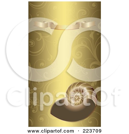 Royalty-Free (RF) Clipart Illustration of a Business Card Design Of A Shell And Gold Banner On A Gold Floral Background by Eugene