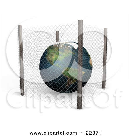 Clipart Illustration of Planet Earth Protected Inside A Planet Earth Protected Inside A Wire Fence, Safe From Pollution And Harm Or Symbolizing Security by KJ Pargeter