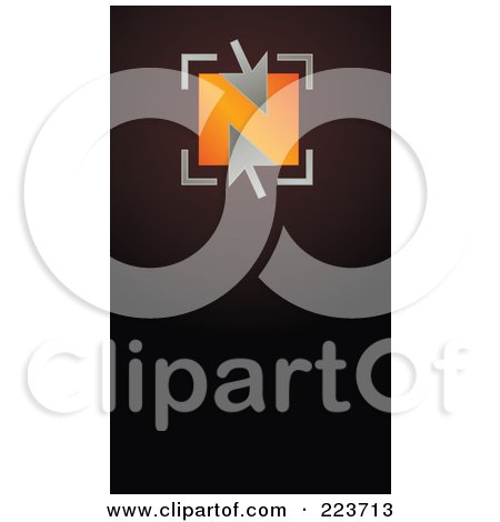 Royalty-Free (RF) Clipart Illustration of a Business Card Design Of Silver Arrows Over An Orange Box On Brown by Eugene