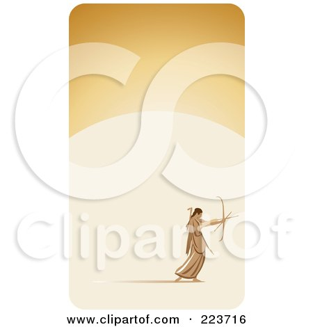 Royalty-Free (RF) Clipart Illustration of a Business Card Design Of An Archer Shooting Arrows On Beige by Eugene