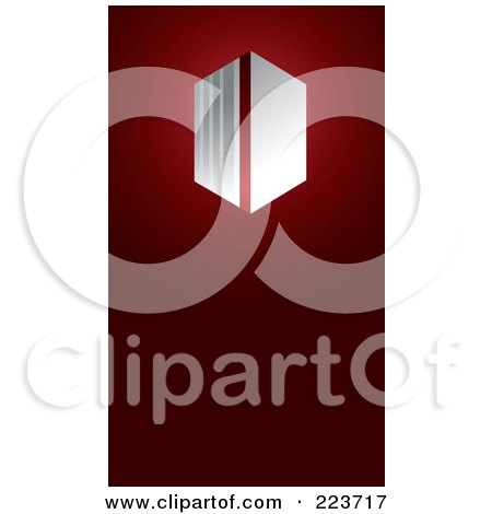 Royalty-Free (RF) Clipart Illustration of a Business Card Design Of An Abstract Gray Symbol On Red by Eugene