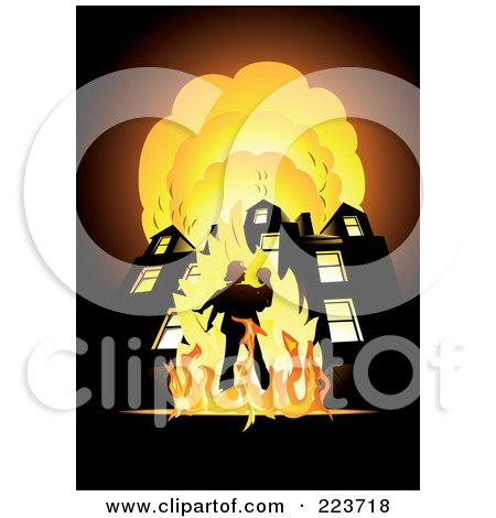 Royalty-Free (RF) Clipart Illustration of a Fireman Carrying A Child In Front Of A Blazing Building by Eugene
