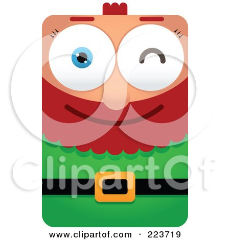 Royalty-Free (RF) Clipart Illustration of a Rectangular Christmas Elf Winking by Qiun