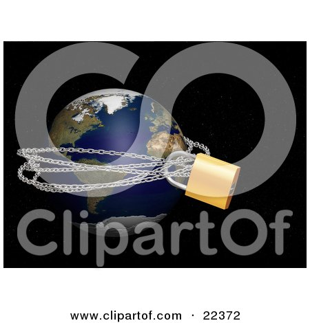 Clipart Illustration of Planet Earth Tied Up In Metal Chains And Padlocked, Over A Starry Black Outer Space Background by KJ Pargeter