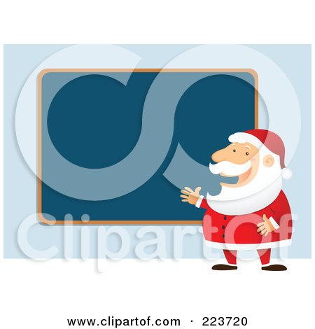 Royalty-Free (RF) Clipart Illustration of Santa Talking And Planning By A Blank Blue Board by Qiun