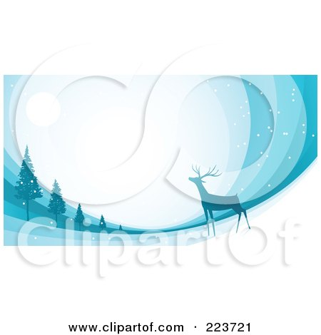 Royalty-Free (RF) Clipart Illustration of a Christmas Background Of A Reindeer Under The Moonlight Near Trees Over Blue Swooshes by Qiun