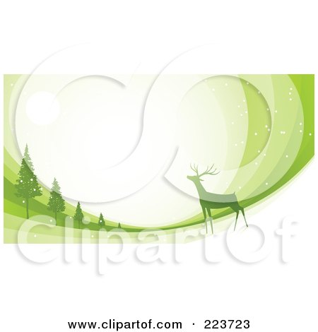 Royalty-Free (RF) Clipart Illustration of a Christmas Background Of A Reindeer Under The Moonlight Near Trees Over Green Swooshes by Qiun