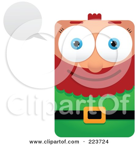 Royalty-Free (RF) Clipart Illustration of a Rectangular Christmas Elf With A Word Balloon by Qiun