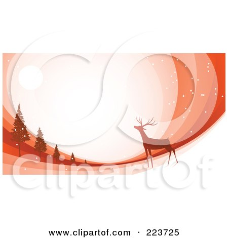 Royalty-Free (RF) Clipart Illustration of a Christmas Background Of A Reindeer Under The Moonlight Near Trees Over Orange Swooshes by Qiun