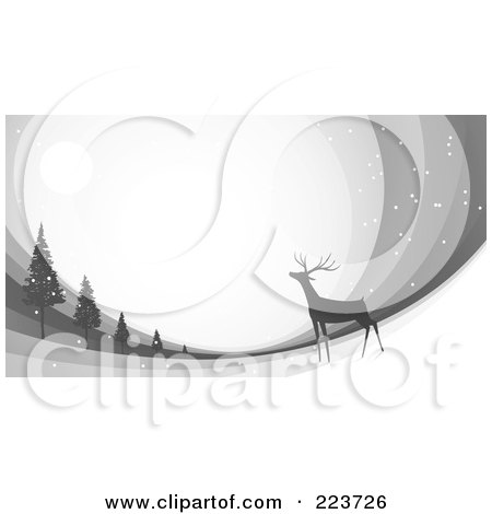 Royalty-Free (RF) Clipart Illustration of a Christmas Background Of A Reindeer Under The Moonlight Near Trees Over Gray Swooshes by Qiun