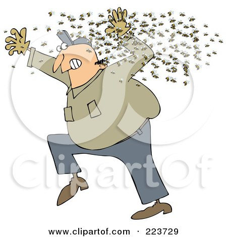 Royalty-Free (RF) Clipart Illustration of a Chubby Man Running Away From A Swarm Of Bees by djart