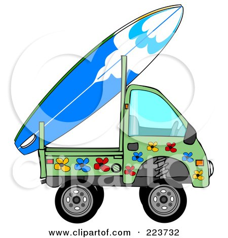 Royalty-Free (RF) Clipart Illustration of a Mini Green Floral Truck With A Surf Board On The Back by djart