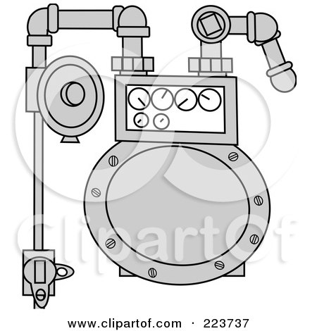 Royalty-Free (RF) Clipart Illustration of a Metal Gas Meter by djart