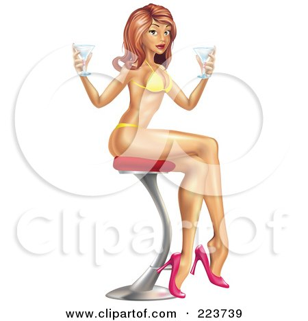 Sexy Pinup Woman In A Bikini, Sitting On A Stool And Holding Cocktails Posters, Art Prints