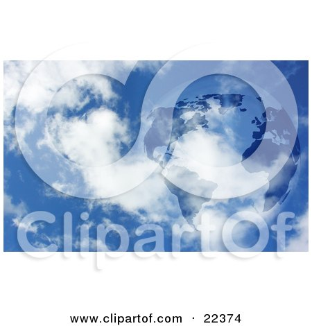 Clipart Illustration of Planet Earth With Dark Continents, Floating In A Blue Sky With White Clouds by KJ Pargeter