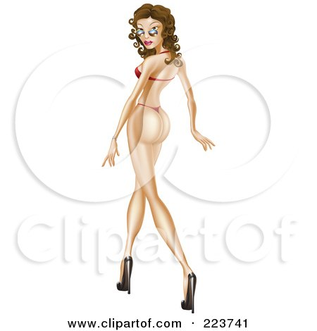 Royalty-Free (RF) Clipart Illustration of a Sexy Pinup Woman Walking In Heels A Thong Bikini, Looking Back Over Her Shades by AtStockIllustration