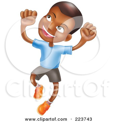 Happy African American Boy Smiling And Jumping Into The Air Posters, Art Prints