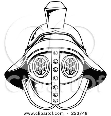 RoyaltyBlack And White Gladiator Helmet Posters, Art Prints