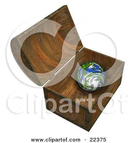 Clipart Illustration of Planet Earth Inside A Wooden Treasure Chest by KJ Pargeter