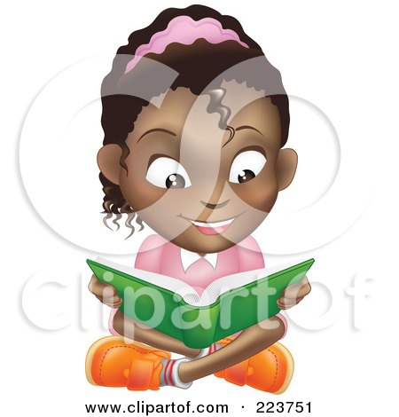 Royalty-Free (RF) Clipart Illustration of a Happy African American Girl Reading A Book And Sitting On The Floor by AtStockIllustration