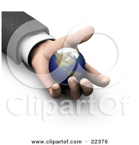Clipart Illustration of a Businessman's Hand Holding The Earth, Symbolizing Protection, Opportunity And Security by KJ Pargeter