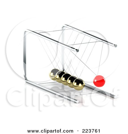 Royalty-Free (RF) Clipart Illustration of a 3d Red Pendulum Ball Swinging Towards Gold Balls - 2 by MacX