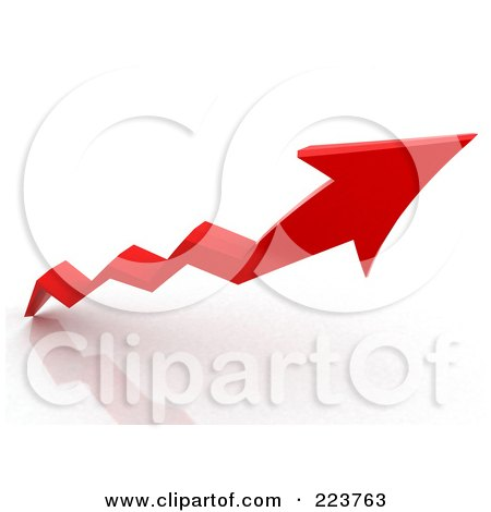 Royalty-Free (RF) Clipart Illustration of a 3d Red Jagged Arrow Going Up by MacX
