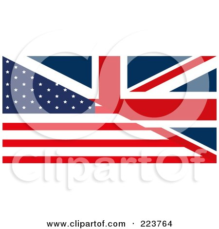 Royalty-Free (RF) Clipart Illustration of a Half United Kingdom And Half American Flag Background by MacX