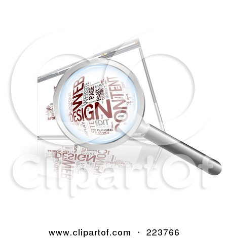 Royalty-Free (RF) Clipart Illustration of a Magnifying Glass Over A Web Design Word Collage On An Internet Browser Screen by MacX