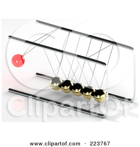 Royalty-Free (RF) Clipart Illustration of a 3d Red Pendulum Ball Swinging Towards Gold Balls - 3 by MacX
