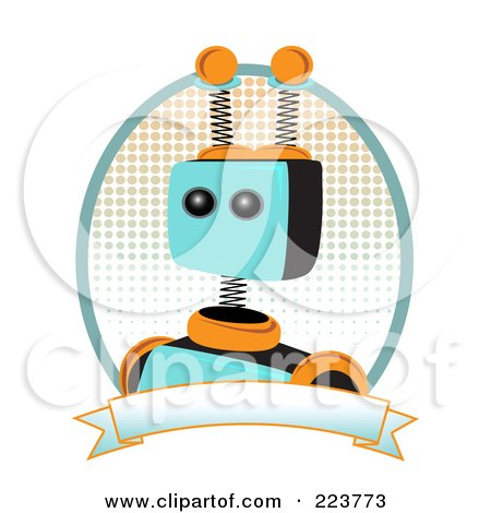 Royalty Free RF Clipart Illustration Of A Springy Robot Logo With Halftone And Blank Banner By Mheld