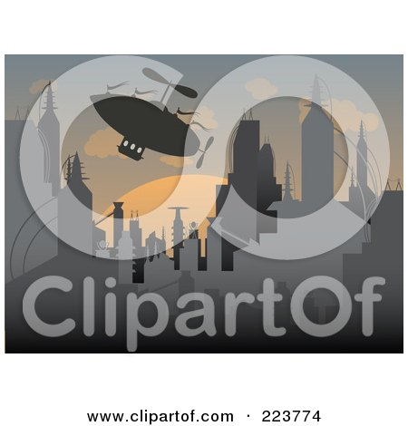 Royalty-Free (RF) Clipart Illustration of a Silhouetted Airship Over A Futuristic City At Sunset by mheld