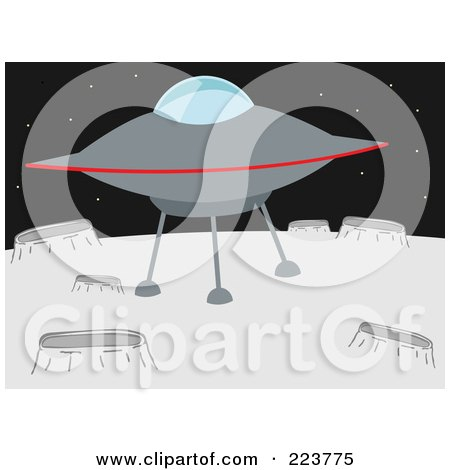 Royalty-Free (RF) Clipart Illustration of a UFO On A Planet With Craters by mheld