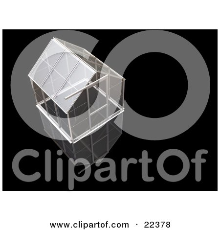 Clipart Illustration of an Empty Glass Greenhouse With A Silver Frame Over A Black Background by KJ Pargeter