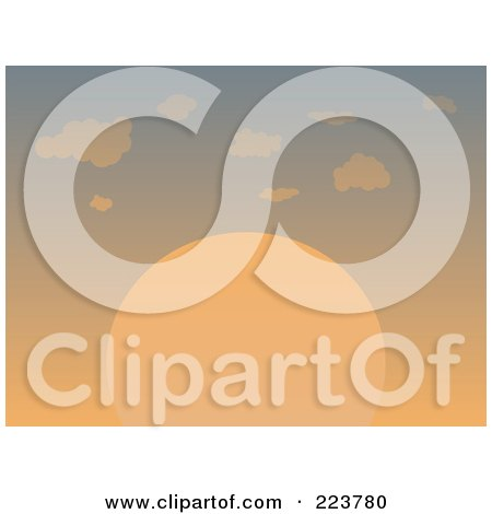 Royalty-Free (RF) Clipart Illustration of a Large Orange Sun Setting In A Sky With Puffy Clouds by mheld