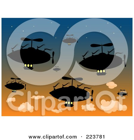 Royalty-Free (RF) Clipart Illustration of a Group Of Silhouetted Air Ships In A Sunset Sky by mheld