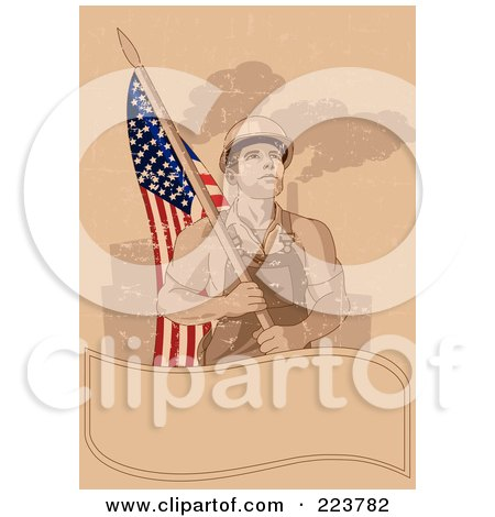Royalty-Free (RF) Clipart Illustration of a Labor Day Background Of A Factory Worker Carrying An American Flag Over A Blank Banner On Tan by Pushkin